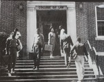 Students on the Steps of the Original College of Law by Florida Agricultural and Mechanical University